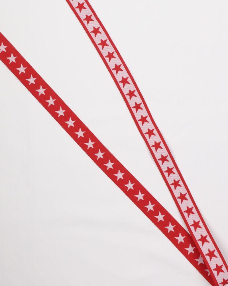 Stjerner, Rød/hvid - 20 mm elastik -