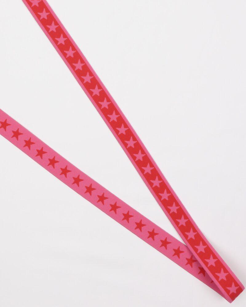 Stjerner, Pink/rød - 20 mm elastik -