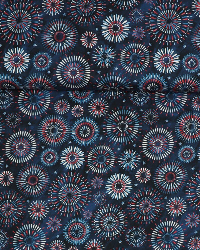 Mønster på blå bundfarve - Patchwork -