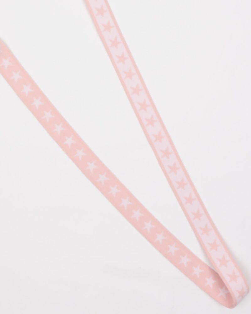 Sart lyserød elastik med hvide stjerner, 20 mm -