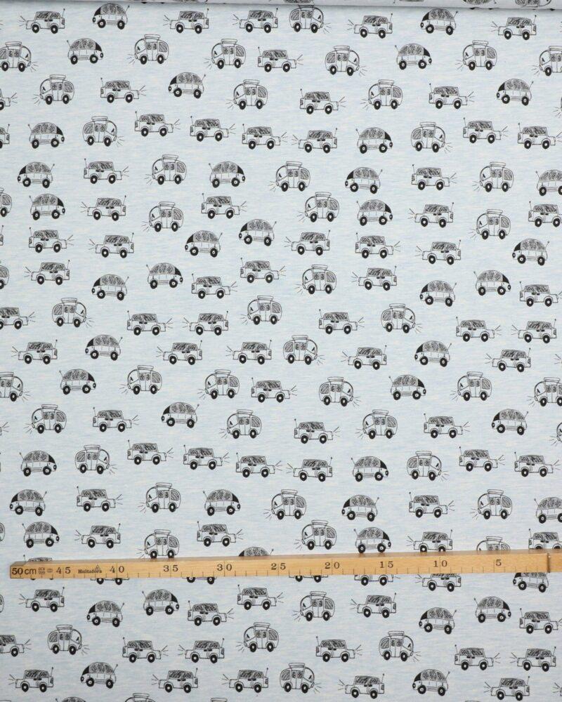 Sorte biler på en lyseblå bund - Jersey -