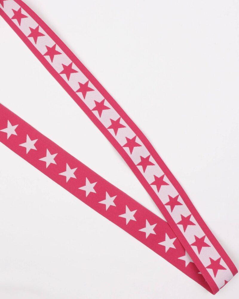 Pink med hvid stjerne - 35 mm elastik -