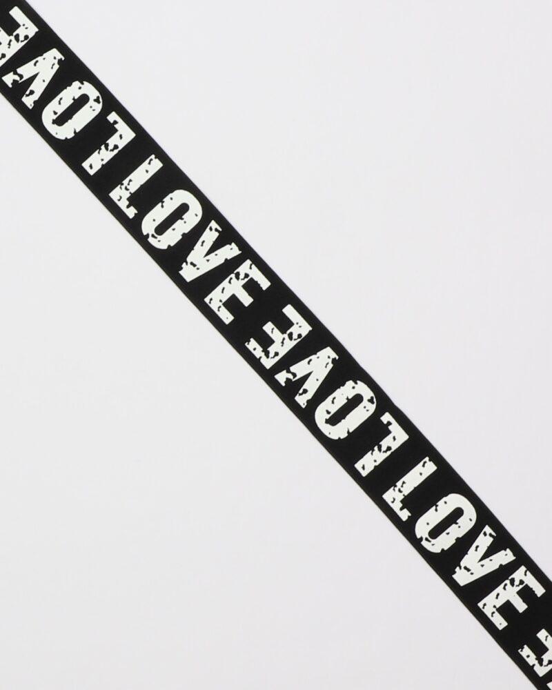 Love, hvid tekst på sort - 40 mm elastik -