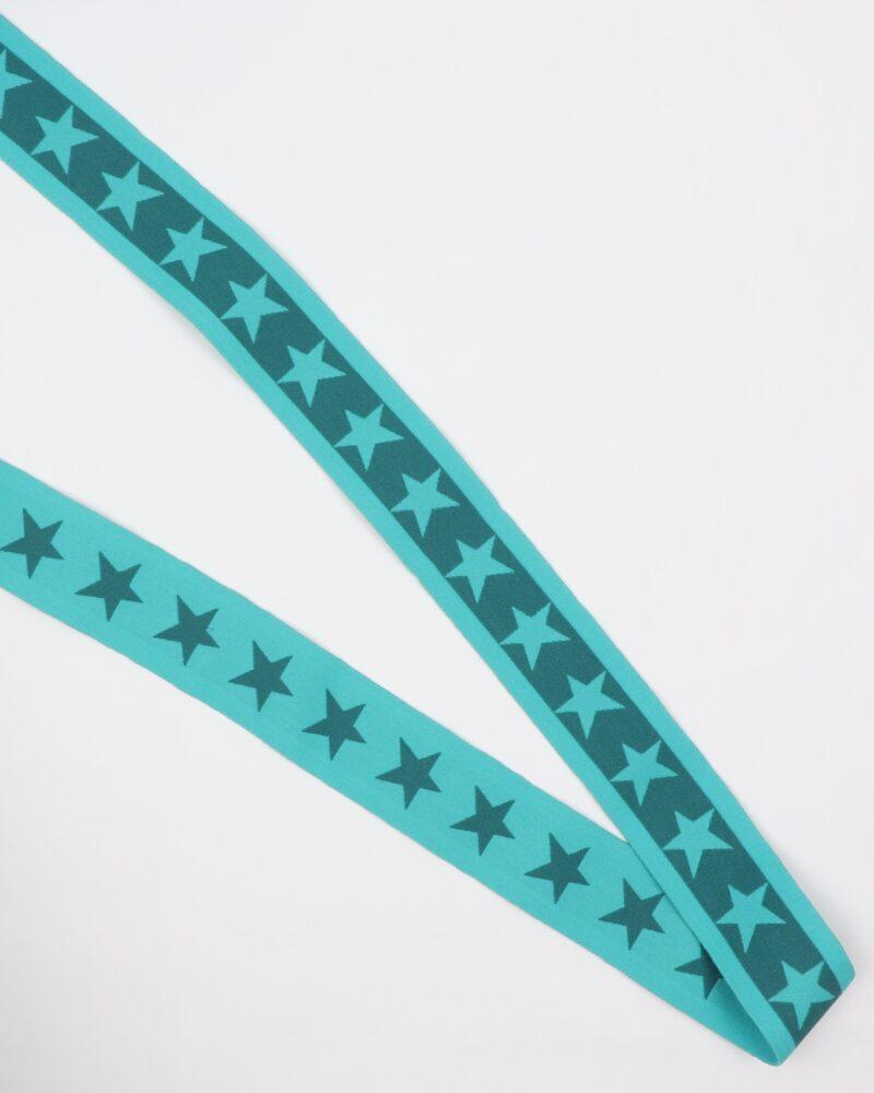 Turkis elastik med petrol stjerne - 35 mm -
