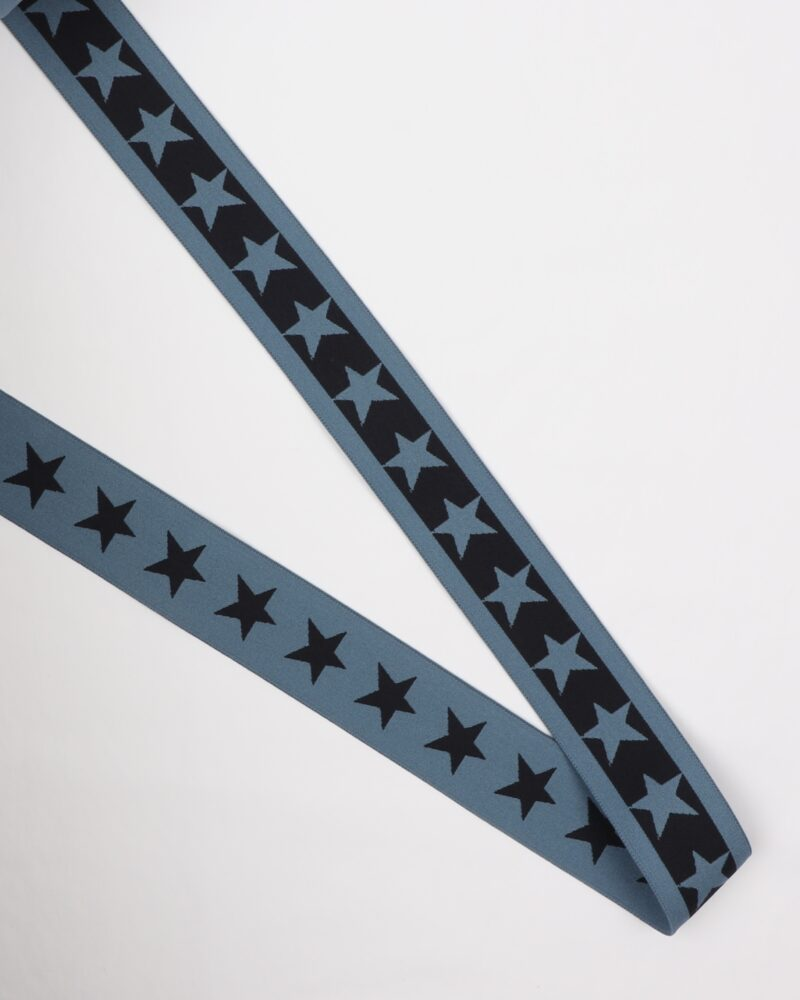 Mellemblå elastik med stjerne - 35 mm -