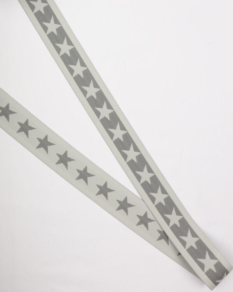 Lysegrå elastik med stjerne - 35 mm -