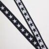 Stjerner, mørkeblå/hvid - 35 mm elastik -