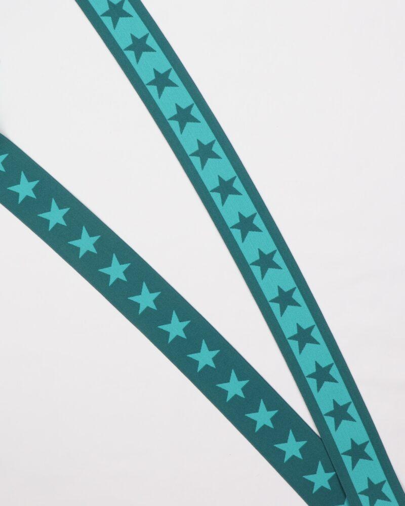 Stjerner, Petrol/turkisgrøn - 35 mm elastik -