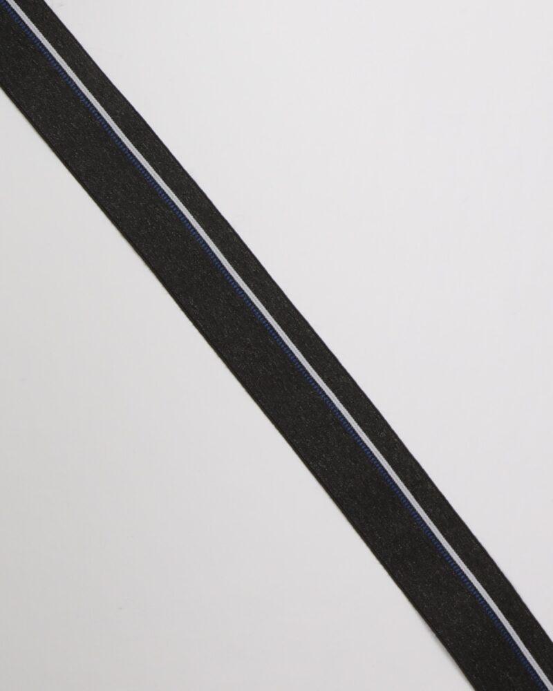 Striber i hvid og blå på grå - 40 mm elastik -
