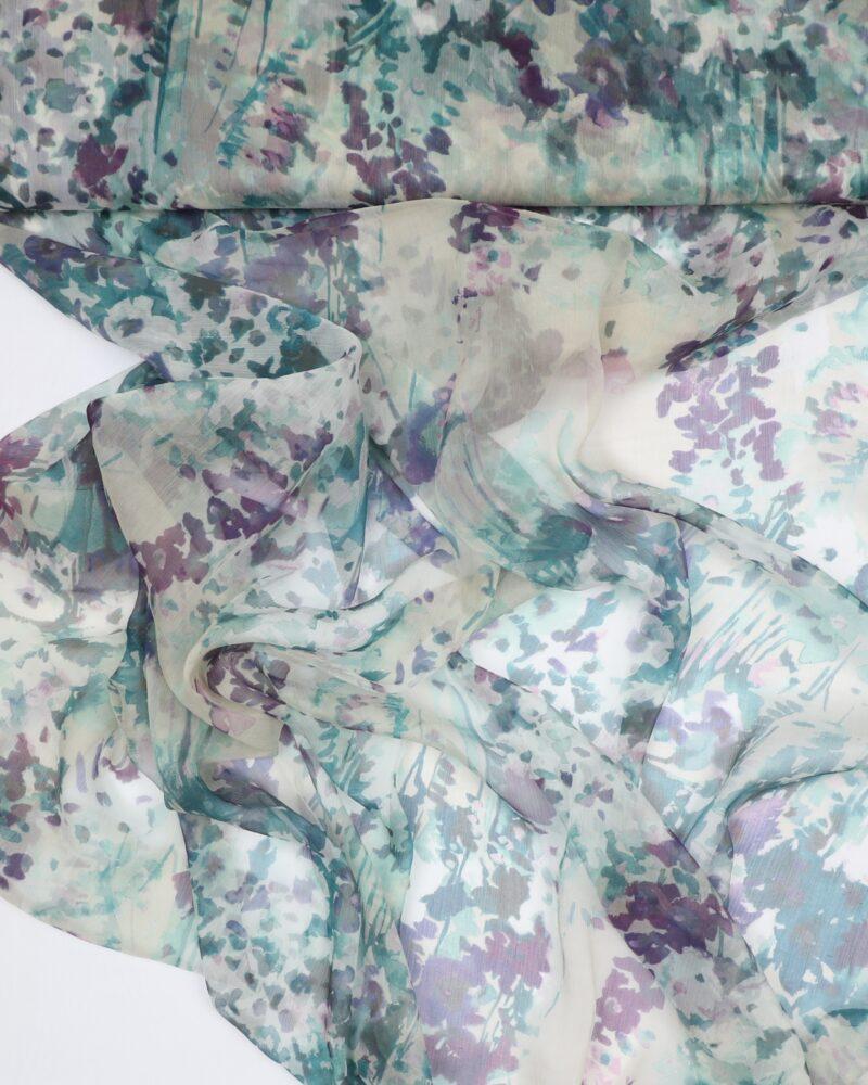 Blomstermønster - Silkechiffon - Info mangler
