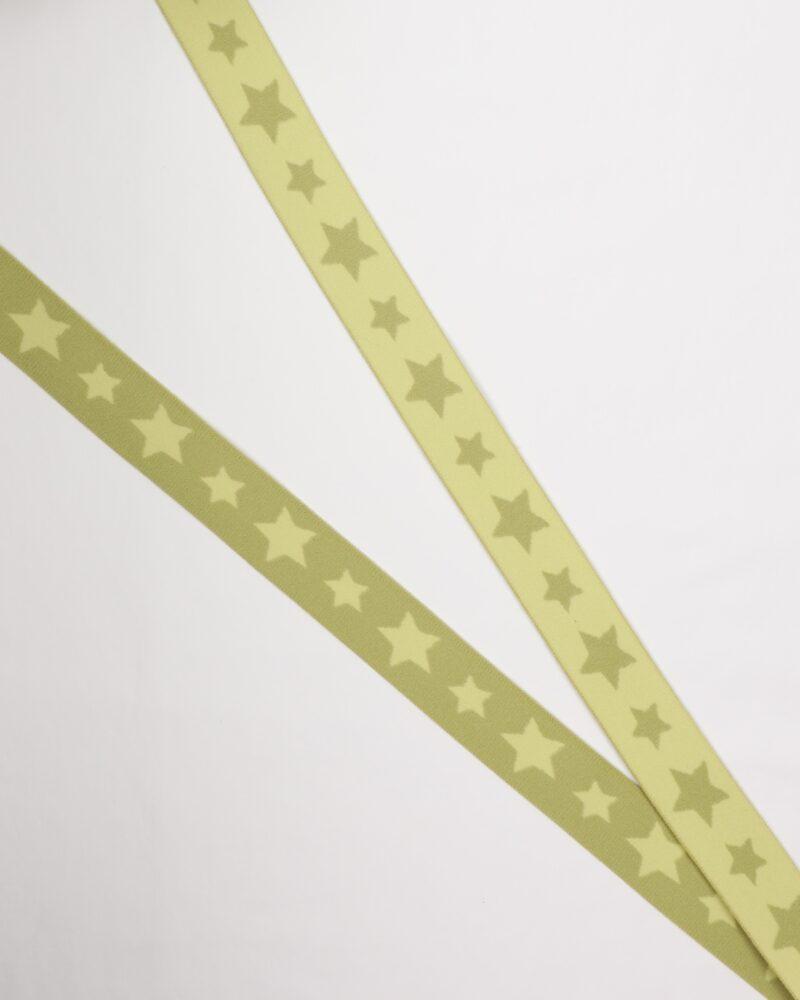 Stjerner, Lys grøn/lysegrøn - 30 mm elastik -