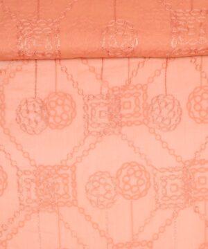 Orange m. broderi - Silkechiffon -
