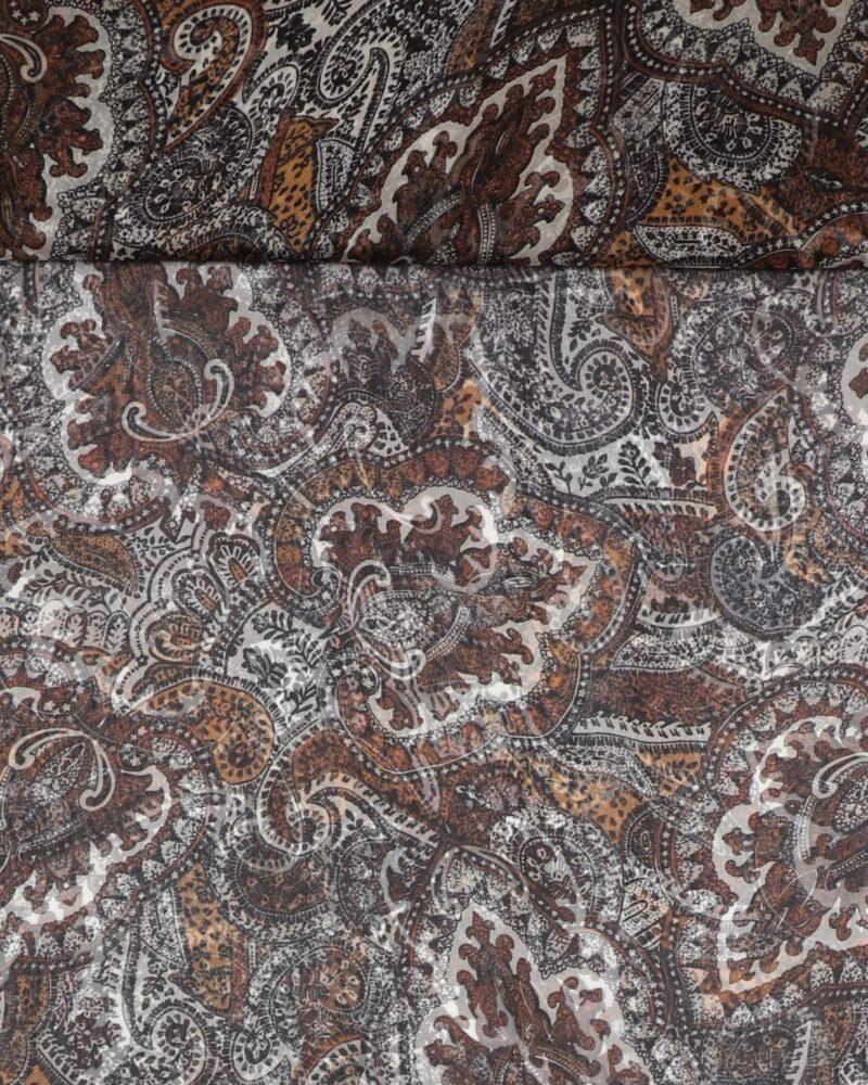 Mønster i gyldenbrune nuancer - Silkechiffon - Info mangler