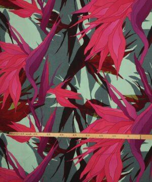 Mønster med lysegrøn - Viskose -