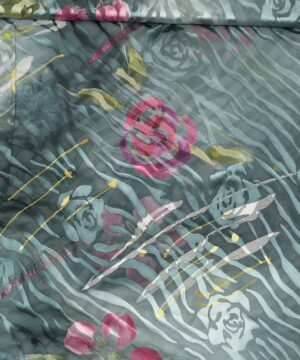 Petrol m. blomster - Silkechiffon -