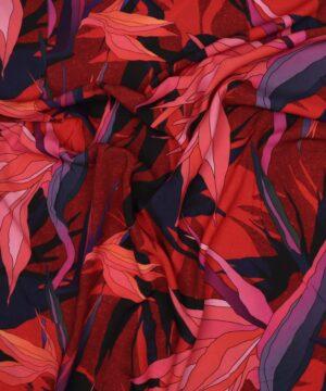 Mønster med blå/rød - Viskose -