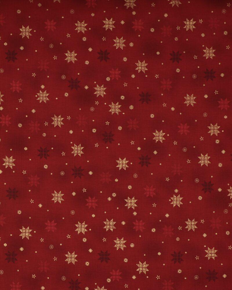 Christmas is near, Mørkerød m. guld - Patchwork -