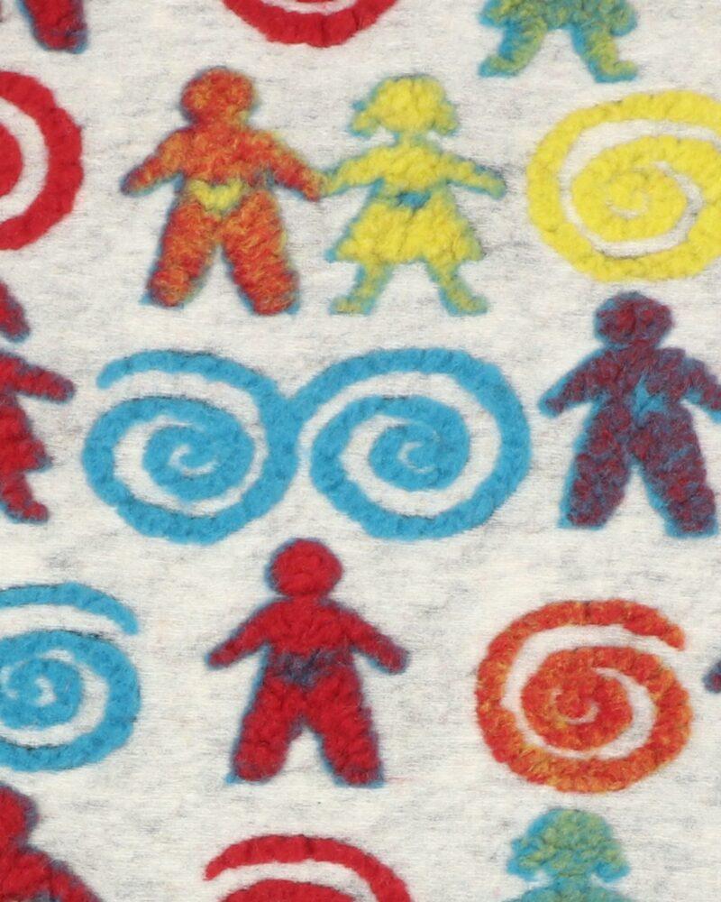 Mønster på lysegrå - Uld/polyester -