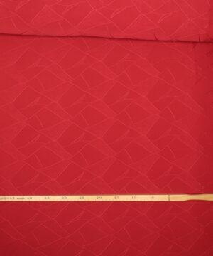 Rød m. mønster - Polyester jersey -