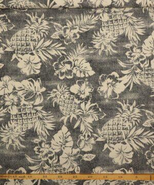Ananas og blomster - Patchwork (twillvævet) -