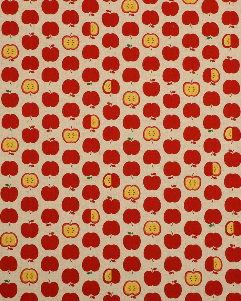 Røde æbler på naturfarvet bund - Patchwork -