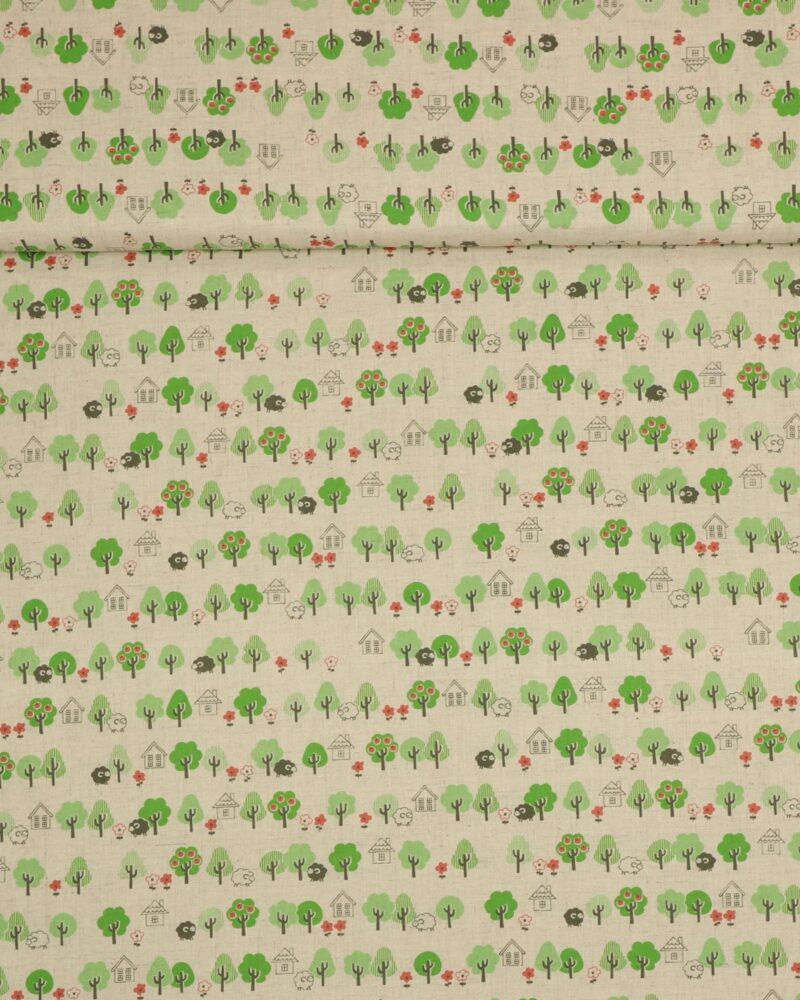 Træer og huse på naturfarvet bund - Patchwork -