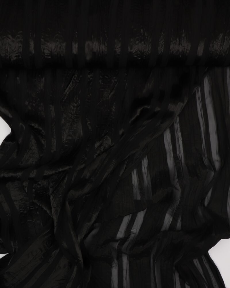 Sort med blank stribe - Chiffon, polyester -