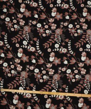 Blomstermønster på sort - Viskose - Info mangler