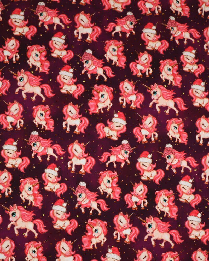 Enhjørninge i julehumør på mørkelilla bund - Jersey -